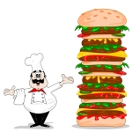 """Cartoon Chef With Hamburger"" by Mister GC"