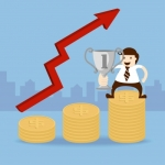 """""""Business Man Hold Trophy Cup And Dollar Coin"""" by 1shots"""